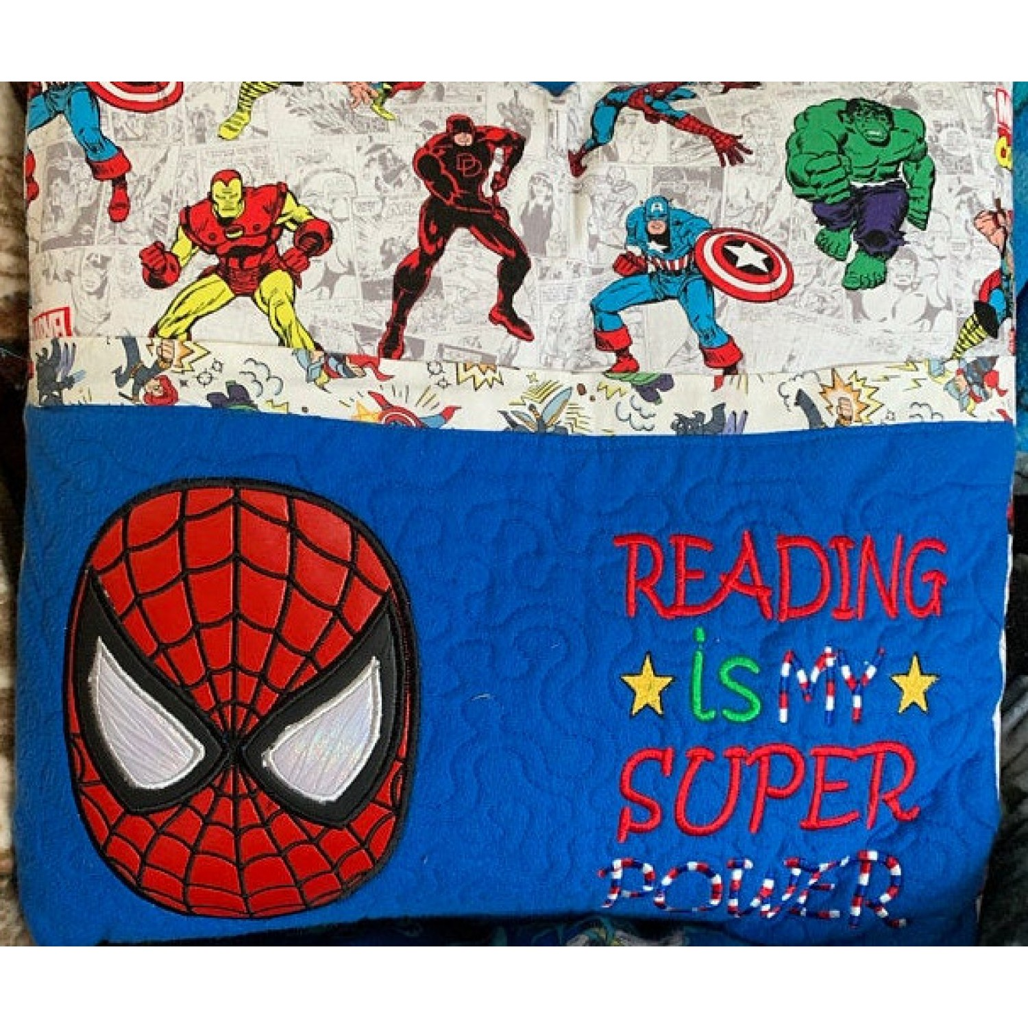 Spiderman face with Reading is My Super power Embroidery