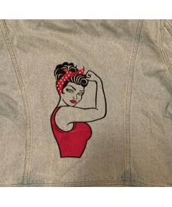 Rosie The Riveter V2 Embroidery Design