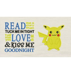 Pokemon Pikachu with read me a story Embroidery