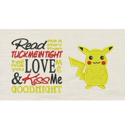 Pokemon Pikachu with read me Embroidery