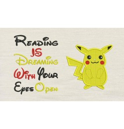 Pokemon Pikachu with reading is dreaming