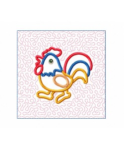 Cock Quilt Block Embroidery