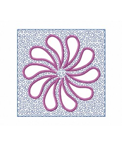 Flower Tamas Stippling Quilt Block Embroidery