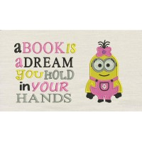 Lola minion embroidery with a book is a dream