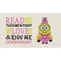 Lola minion embroidery with read me a story
