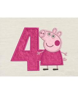 Peppa Pig birthday number 4 applique