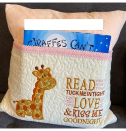 Giraffe read me a story designs embroidery
