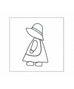 Sunbonnet blanket stitch Quilt Block Embroidery in the hoop