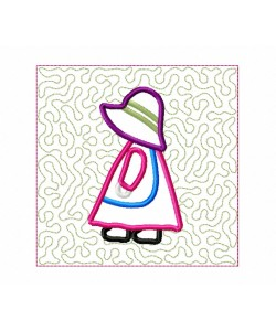 Sunbonnet Sue stippling Quilt Block Embroidery in the hoop