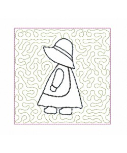 sunbonnet blanket stitch stipple Quilt Block Embroidery in the hoop