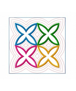 Cotto Astro serte quilt block in the hoop Embroidery