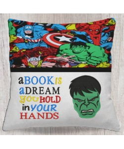 Hulk face embroidery with a book is a dream