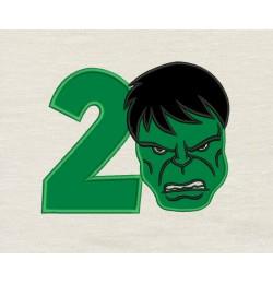 Hulk face birthday number 2 applique