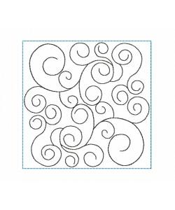 Swirls pattern frame Quilt Block Embroidery