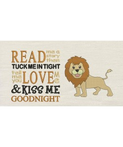 Lion embroidery with read me a story Embroidery