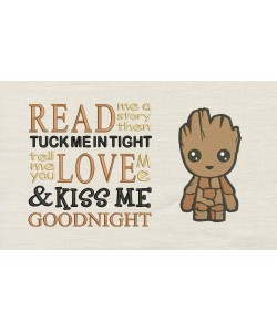 Baby Groot with read me a story Embroidery
