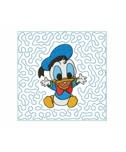 Baby Donald stipple quilt block Embroidery in the hoop