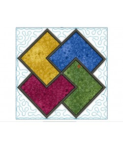 Quartet stipple quilt block Embroidery in the hoop