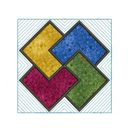 Quartet LINE quilt block Embroidery in the hoop
