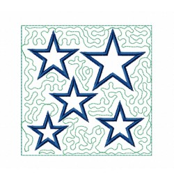 Stars stippling Quilt Block Embroidery in the hoop
