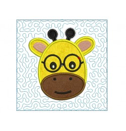 Giraffe face stipple quilt block Embroidery in the hoop