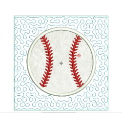 Baseball stipple Quilt Block Embroidery in the hoop
