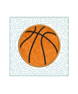 Basketball stipple Quilt Block Embroidery in the hoop