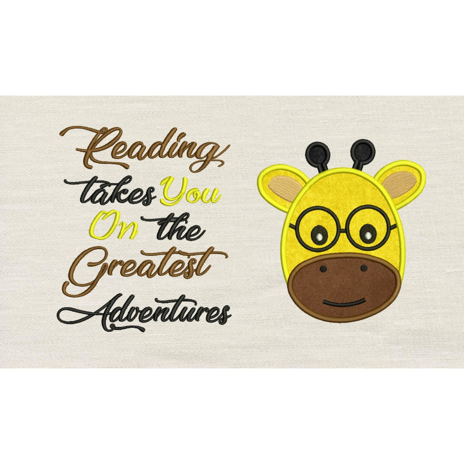 Baby giraffe face with reading takes you