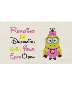 Lola minion embroidery with reading is dreaming