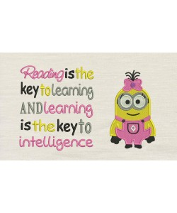 Lola minion embroidery with Reading is the key
