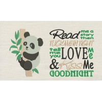 Panda with Read me a story Embroidery