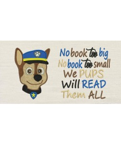 Paw Patrol Chase Face with no book too big Embroidery