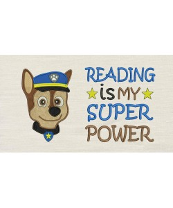 Paw Patrol Chase Face with Reading is My Superpower