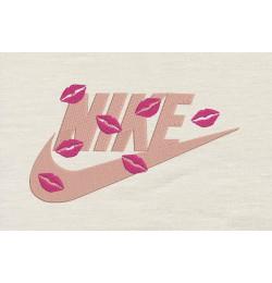 Nike lips Embroidery Design