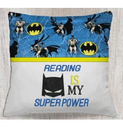 Batman mask reading embroidery