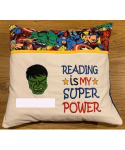 Hulk face Embroidery with reading is my superpower