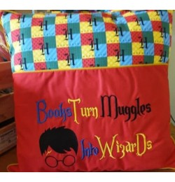 Books turn harry potter embroidery design