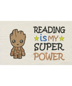 Baby Groot with Reading is My Superpower