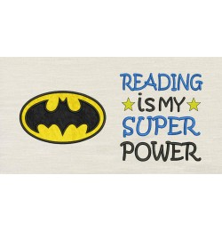Batman logo with Reading is My Superpower Designs