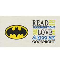 Batman logo with read me a story Embroidery