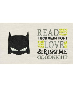 Batman Mask with read me a story Embroidery Designs