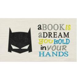 Batman Mask Applique with a book is a dream Designs