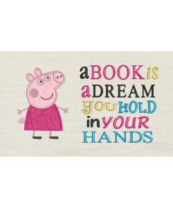 Peppa Pig applique with a book is a dream