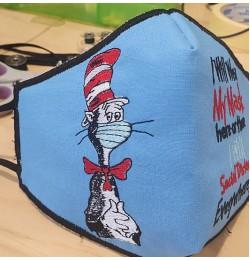 Face mask the cat in the hat mask For kids and adult in the hoop Embroidery