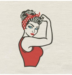 Rosie The Riveter V2 Design Embroidery