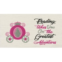 Princess carriage with reading takes you Embroidery