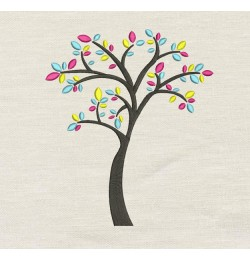 Tree colors embroidery design