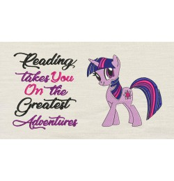 Twilight Sparkle pony with reading takes you