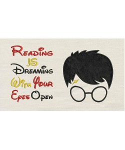 Harry Potter Face Applique reading is dreaming