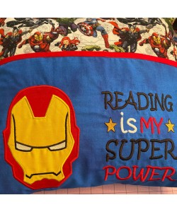 Iron Man face with Reading is My Superpower Embroidery